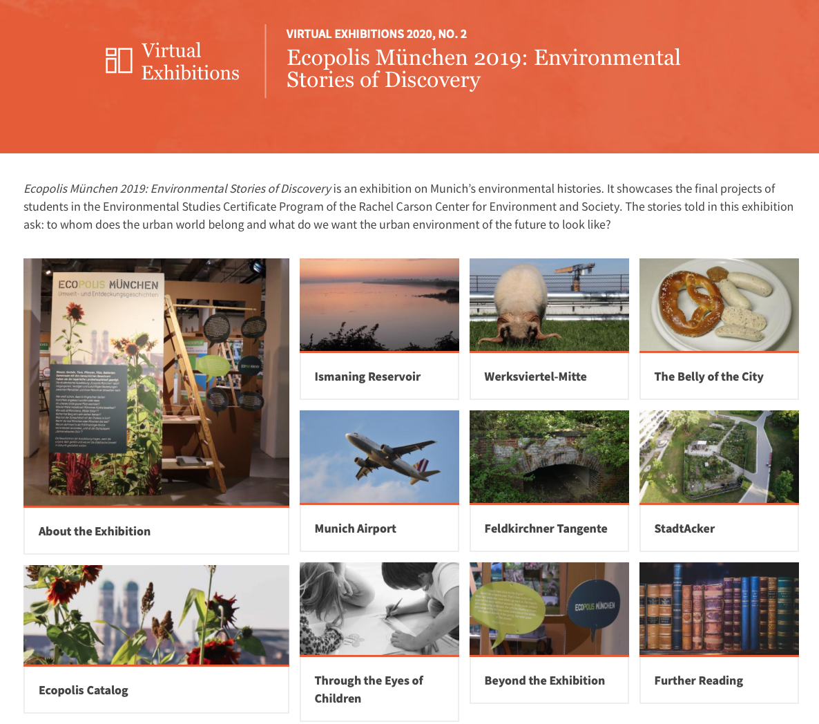 """Screenshot of """"Ecopolis 2019"""" virtual exhibition overview page"""
